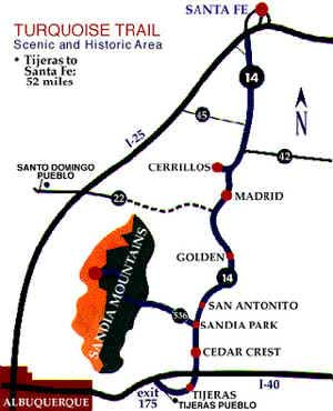 Albuquerque To Santa Fe >> Map of Madrid New Mexico - Artist haven of New Mexico